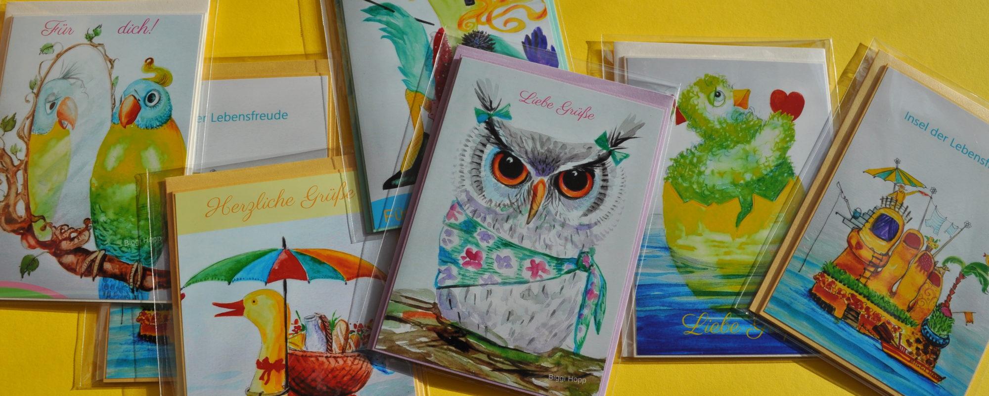 Grußkarten von BIGGI HOPP Atelier und Erzähltheater