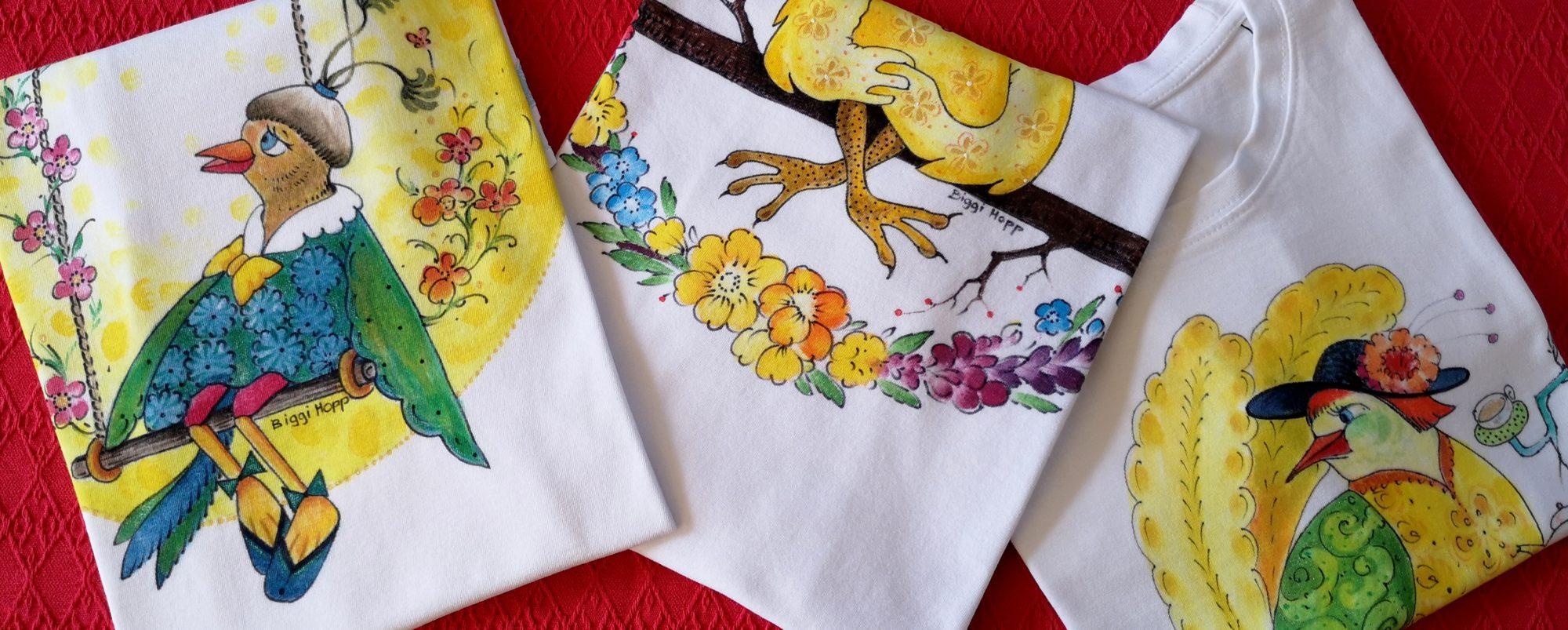 Textilmalerei T-Shirt Komische Vögel